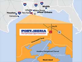 Location of the Port of Iberia on the Gulf of Mexico Coast